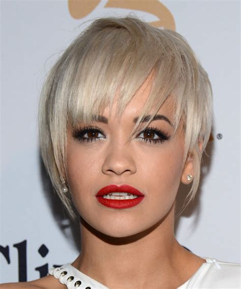 rita oras new short haircut from the 2015 grammy awards lipstick rita ora short straight casual hairstyle with layered
