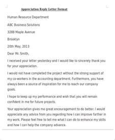 appreciation letter reply format 50 appreciation letter sles
