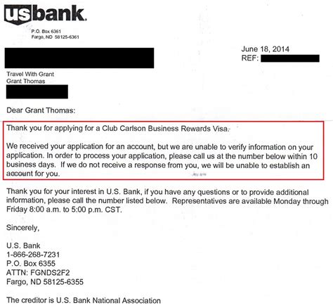 Decline Letter From Bank Success Us Bank Club Carlson Business Credit Card Reconsideration Bank Visit
