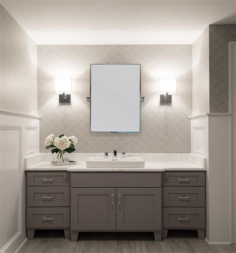 white and grey bathroom transitional bathroom connor design