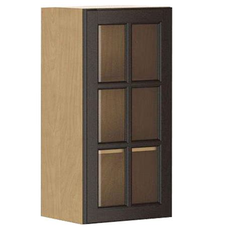 pine wall cabinet with glass doors eurostyle ready to assemble 15x30x12 5 in naples wall