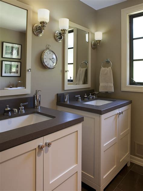 cabinet between bathroom sinks i like these sinks for the hall bathroom color and style