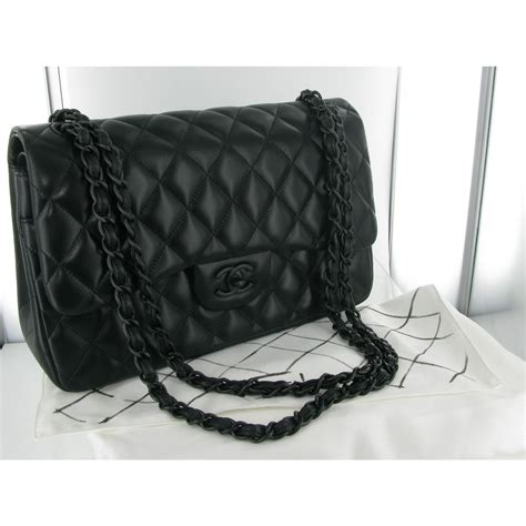 Longch Cuir Leather S Original chanel black on black hardware s t y l e chanel