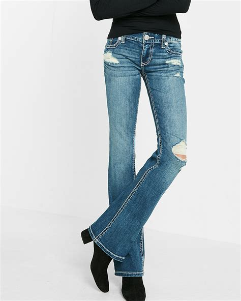 buy jeans that fit understand denim cut style low rise thick stitch stretch bootcut jeans express