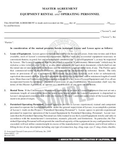 operating lease agreement template sle equipment lease agreement 9 exles in word pdf