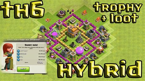 coc th6 best defense layout clash of clans town hall 6 defense coc th6 best hybrid