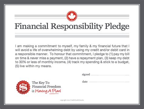 8 Tips On Teaching Your Financial Responsibility by Financial Responsibility Pledge Creditcardscanada Ca