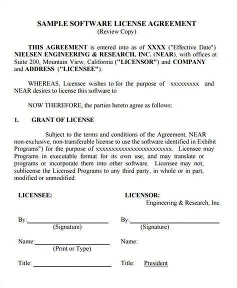 software licence agreement template sle license agreement template 9 free documents in