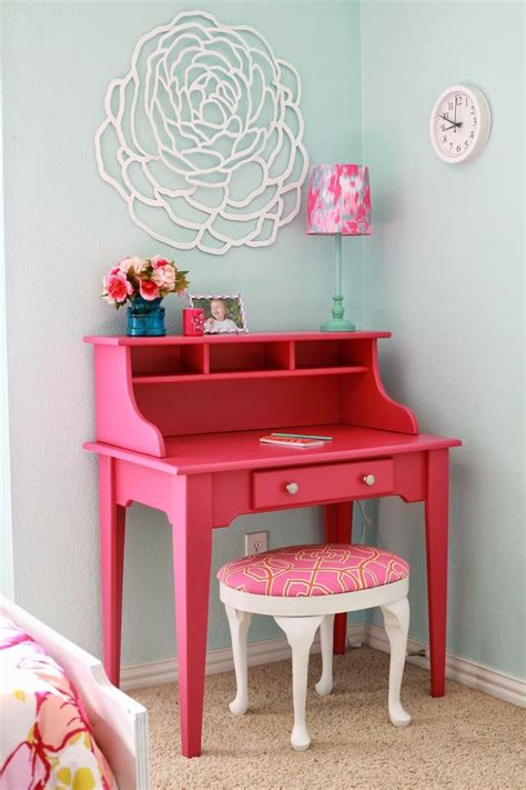 Pink Desk Secretary White And Pink Stool Makeovers Mid