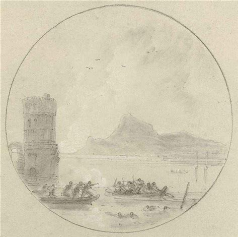 a skirmish in rowing boats in the bay of baiae an island