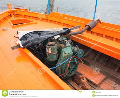 wooden boat engines old diesel engine in wooden boat stock photo image of