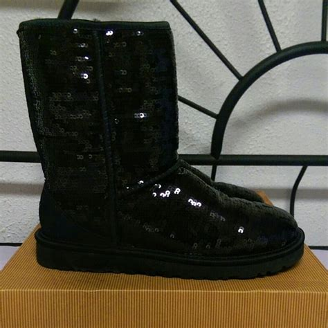 45 ugg boots new black sparkle sequin classic