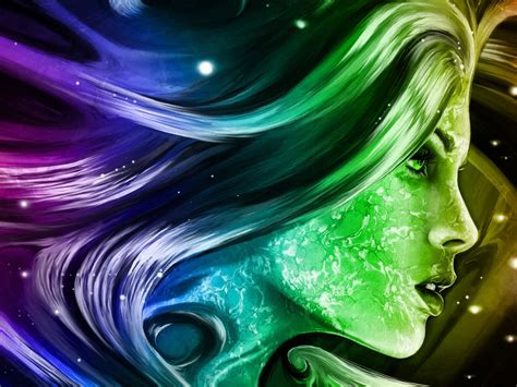 rainbow girl  fantasy abstract art digital hd wallpapers  mobile phones  laptops