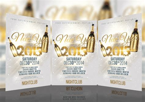 free psd template download new year white party flyer