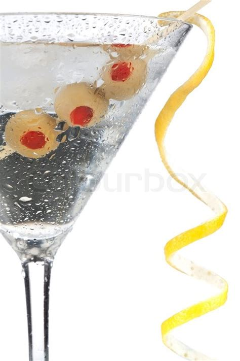 Cocktail Decorations by Cocktail Collection Classic Martini With Lemon Decoration Isolated On White Background Stock