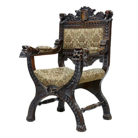 Antique Chair With Carved by 19th Century Antique Carved Oak X Frame Throne Chair At