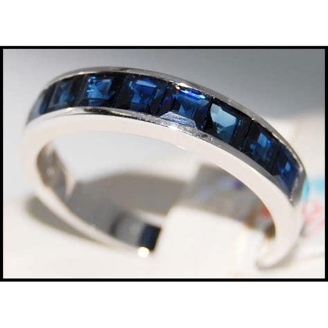 wedding blue sapphire gemstone 18k white gold band ring