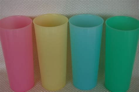 Tumbler Tupperware vintage tupperware pastel 16 oz tumblers set of 4 yellow pink