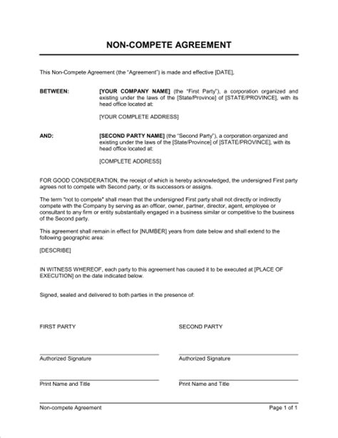 non compete template non compete agreement exle free printable documents
