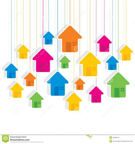 colorful hanging house pattern background design stock