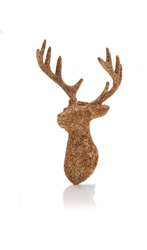 6 x chagn gold glitter stag s head hanging decorations