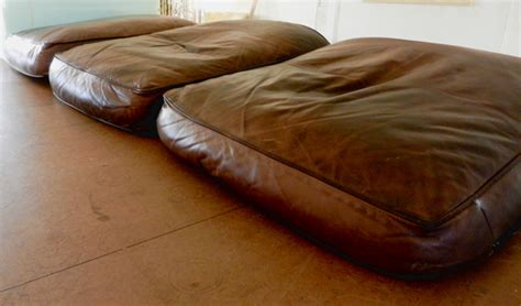 fix flattened leather sofa cushions modhomeec