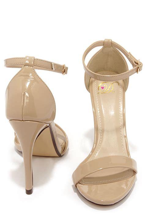 Heals Stap Beige beige heels ankle heels single heels
