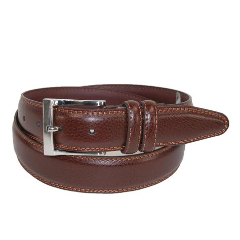 mens pebble grain with feather edge dress belt by aquarius