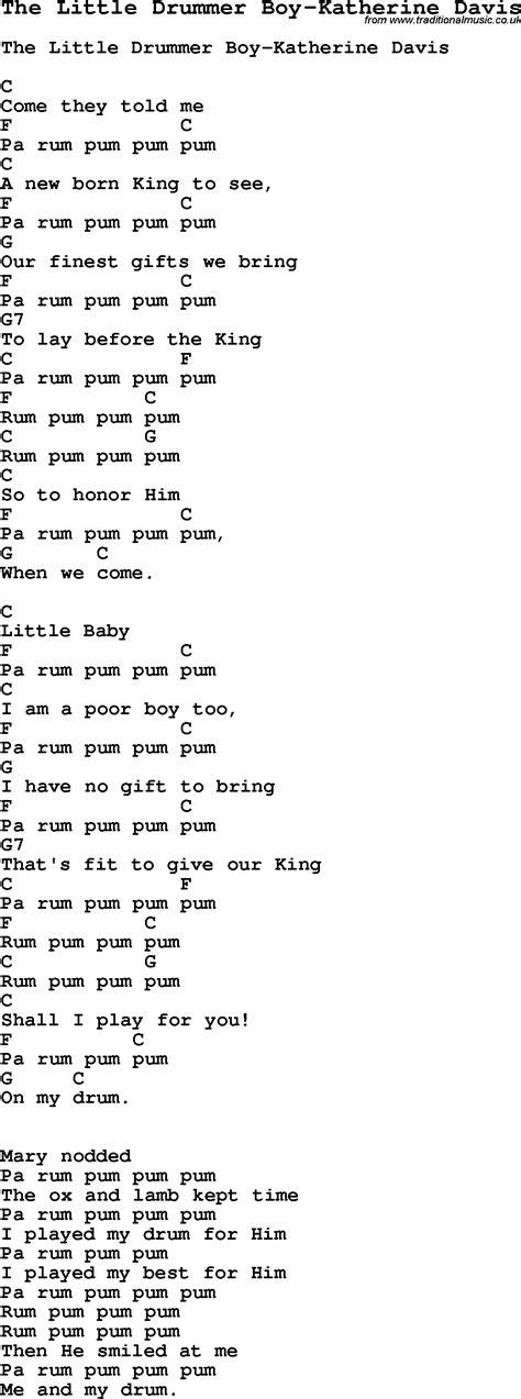 printable lyrics for the little drummer boy little drummer boy chords search results calendar 2015