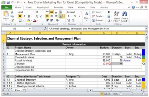 Free Channel Marketing Plan Template For Excel Comprehensive Marketing Strategy Template