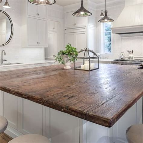 reclaimed barn wood kitchen island at home on the range 30 rustic countertops that add coziness to your home