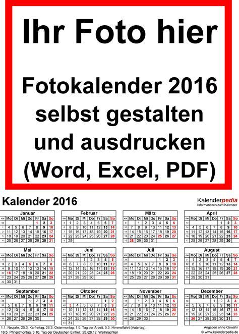 Word Vorlage Jahreskalender 2016 Fotokalender 2016 Als Word Vorlagen Zum Ausdrucken Kostenlos