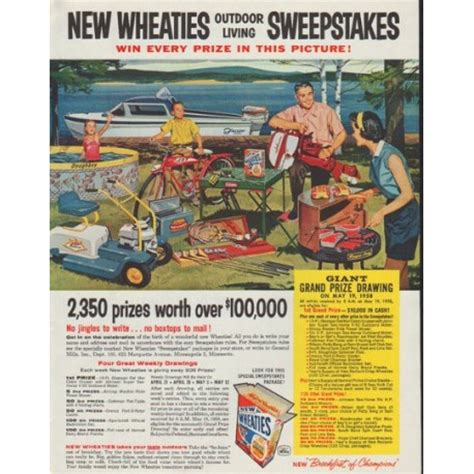 Sweepstakes Ad - 1958 wheaties vintage ad quot sweepstakes quot