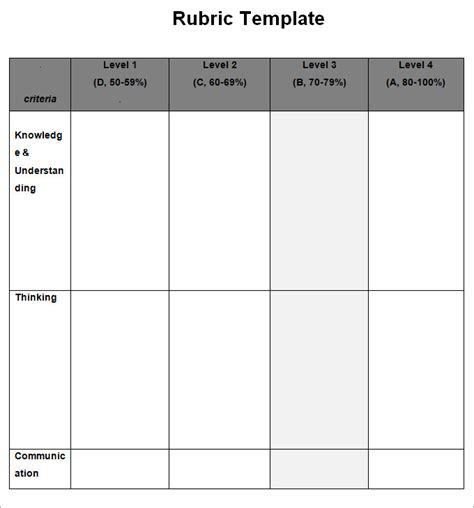 rubric template blank rubric template sle rubric for presentation 70