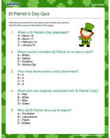 5 best images of st s day trivia printable st s day printable st