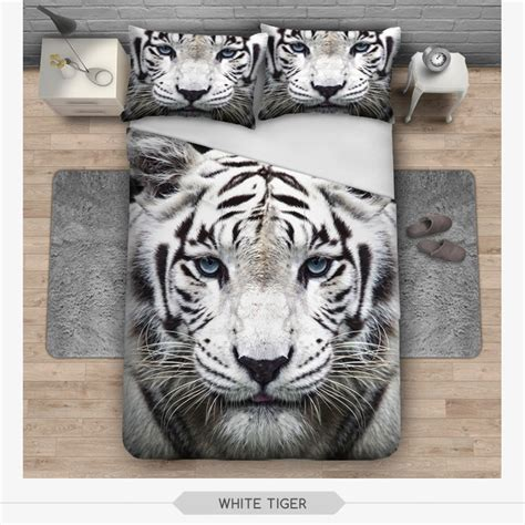 white tiger bed set new 3d print bedding set white tiger duvet cover home bed set bedclothes blanket cover