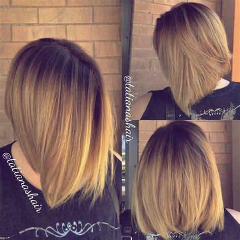 edgy a line haircut rooty golden beige color melt balayage edgy bob haircut
