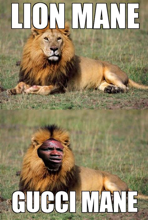 Mane Meme - like a lion made of prada with a gucci mane the mustard