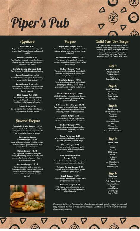 dive bar burger menu design templates  musthavemenus