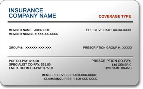 Insurance Card Template by Willow Creek Pediatrics September 2010