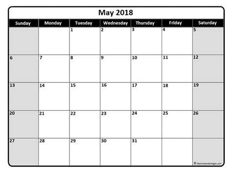 May 2018 Calendar 51 Templates Of Free Printable Calendars Calendar Template Free 2018
