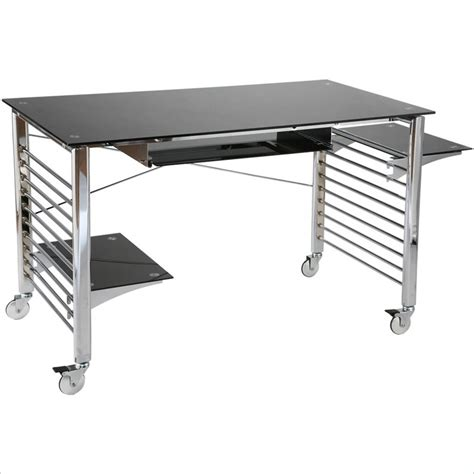 Metal Computer Desk Eurostyle Brichi Metal On Casters Black Chrome Computer Desk Ebay