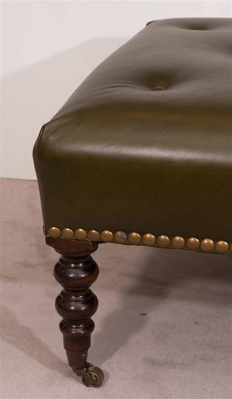 George Smith Ottoman Mid Century George Smith Signature Ottoman In Green Tufted Leather And Mahogany At 1stdibs