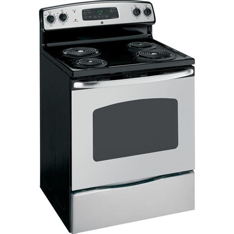 stainless steel stove shop ge freestanding 5 3 cu ft self cleaning electric range stainless steel common 30 in