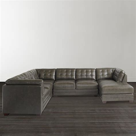slate grey leather u shaped sectional