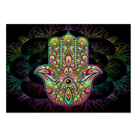 psychedelic business card template hamsa psychedelic large business card zazzle