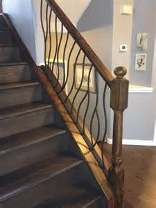 Rustic wood and iron stair railing designs