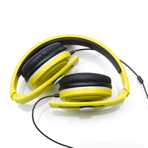 Headphone Lunar carboncans headphones sunset yellow lunar grey with mic angle and curve
