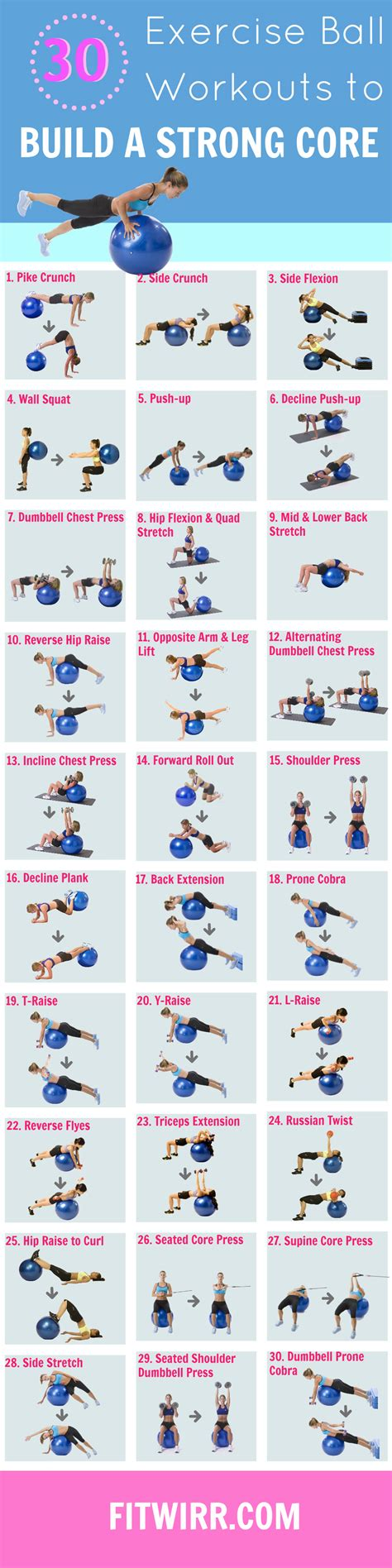 printable ball exercises  strengthen  core