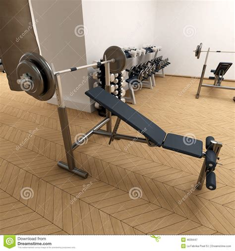 benching at the gym weight bench at the gym royalty free stock photography